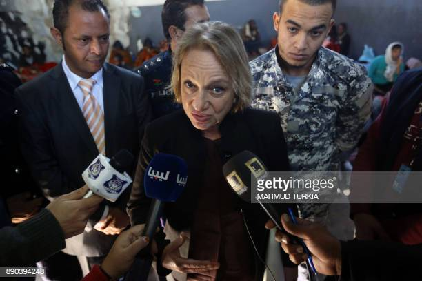 Bettina Muscheidt ambassador and head of the EU delegation to Libya talks to TV reporters as she visits the Tariq AlMatar migrant shelter and...