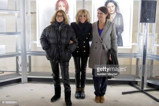 Bettina Rhiems, French First Lady Brigitte Macron and Junior Minister in charge of Equality between men and women Marlene Schiappa pose for...