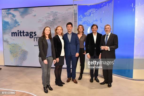 Bettina Schoen Patricia Schlesinger Sascha Hingst Jessy Wellmer Jan SchulteKellinghaus and Christoph Singelnstein during the 'ARD Mittagsmagazin'...