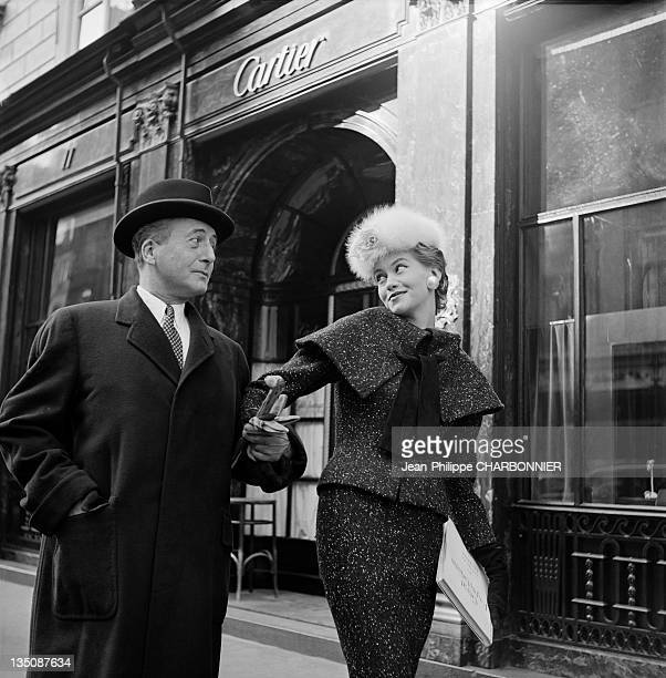 Bettina the famous top model posing in front of the Cartier store display window place Vendome Paris in 1953 Cartier was founded in Paris in 1847 by...