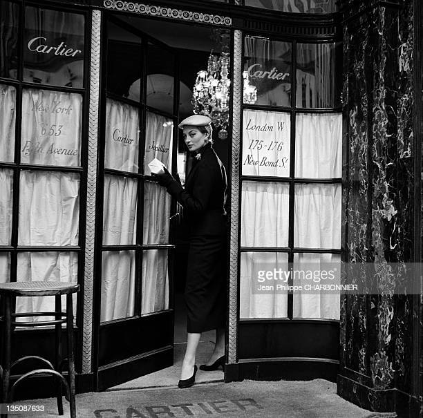 Bettina, the famous top model taking out of the jewelry (jeweler's store) Cartier, place Vendome, Paris in 1953. Cartier was founded in Paris in 1847 by Louis-Francois Cartier.