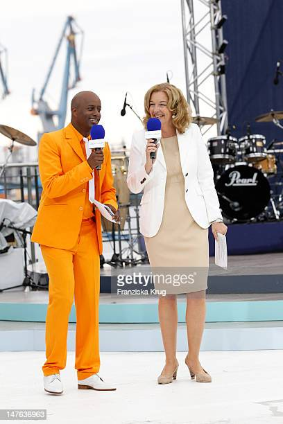 Bettina Tietjen and Yared Dibaba attend the Ship christening of `Mein Schiff 2` on April 14, 2011 in Hamburg, Germany.