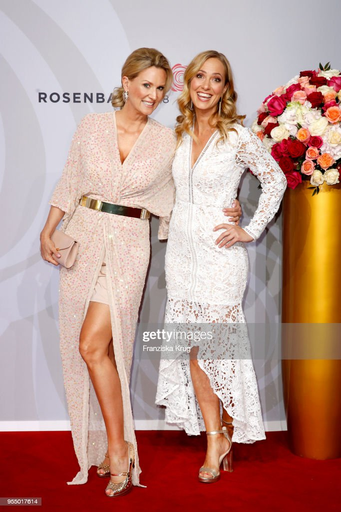 Bettina von Schimmelmann and Angela Finger-Erben attend the Rosenball charity event at Hotel Intercontinental on May 5, 2018 in Berlin, Germany.