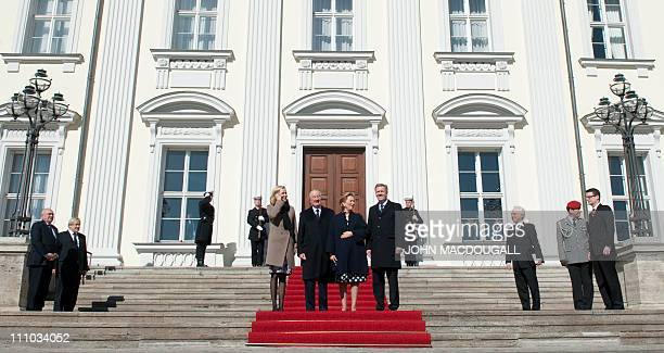 Bettina Wulff King Albert II of Belgium Queen Paola and German President Christian Wulff pose for photographers on the steps of the presidential...