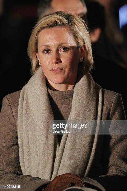 Bettina Wulff, wife of former German President Christian Wulff, attends the Zapfenstreich, or taps, farewell ceremony for Wulff at Bellevue Palace on...