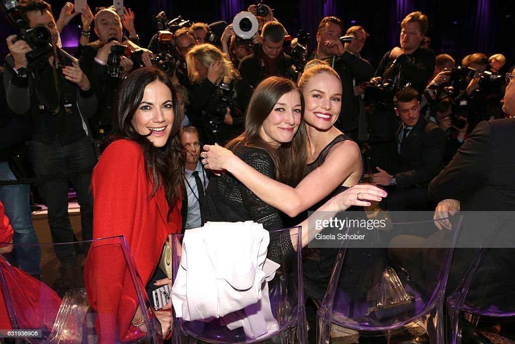 Bettina Zimmermann, Alexandra Maria Lara and Kate Bosworth during the Marc Cain fashion show fall/winter 2017 'Ballet magnifique' at 'Telekom Representation' on January 17, 2017 in Berlin, Germany.