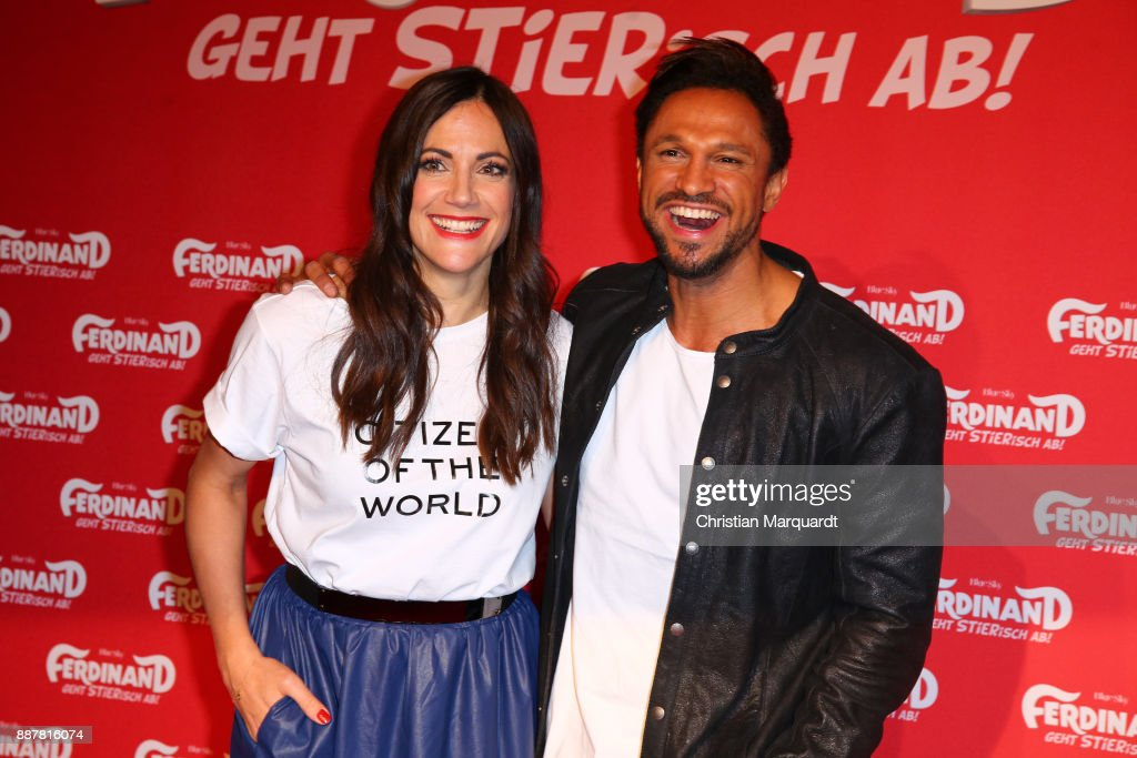 Bettina Zimmermann and Daniel Aminati attend the premiere of 'Ferdinand - Geht STIERisch ab!' at Zoo Palast on December 7, 2017 in Berlin, Germany.