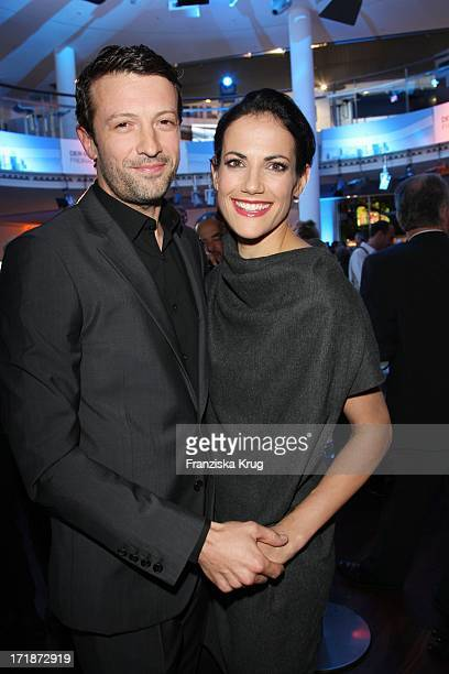 Bettina Zimmermann and friend Vlad Subotic at the Premiere Of Germany BMW 5 Series Gran Turismo in Berlin