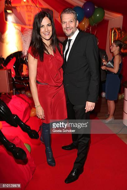 Bettina Zimmermann and her partner Kai Wiesinger during the Bild 'Place to B' Party at Borchardt during the 66th Berlinale International Film...