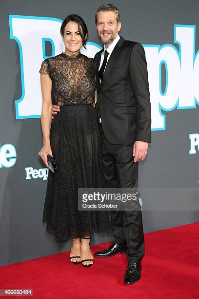 Bettina Zimmermann and her partner Kai Wiesinger during the PEOPLE Magazine Germany launch party at Waldorf Astoria on March 17 2015 in Berlin Germany