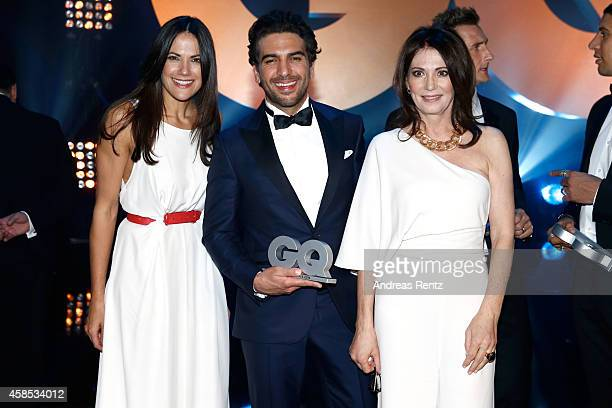 Bettina Zimmermann Elyas M'Barek and Iris Berben are seen on stage at the GQ Men Of The Year Award 2014 at Komische Oper on November 6 2014 in Berlin...