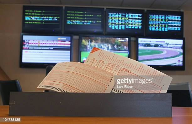 Betting slips are seen in a sports betting office on October 5 2010 in Germany