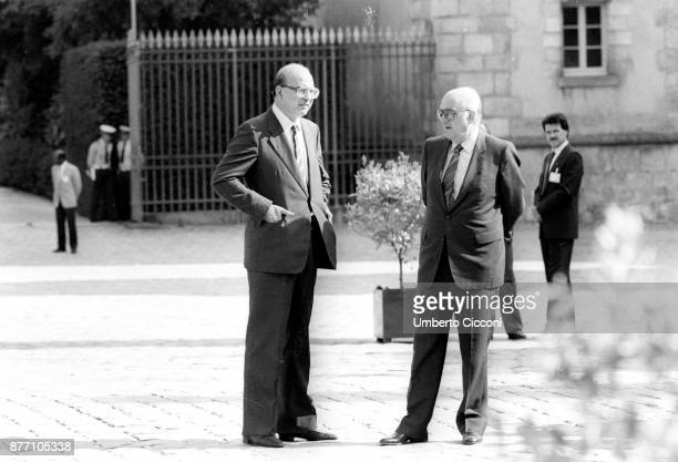 Bettino Craxi and socialist politician Andreas Papandreou at the Socialist international meeting France 1984