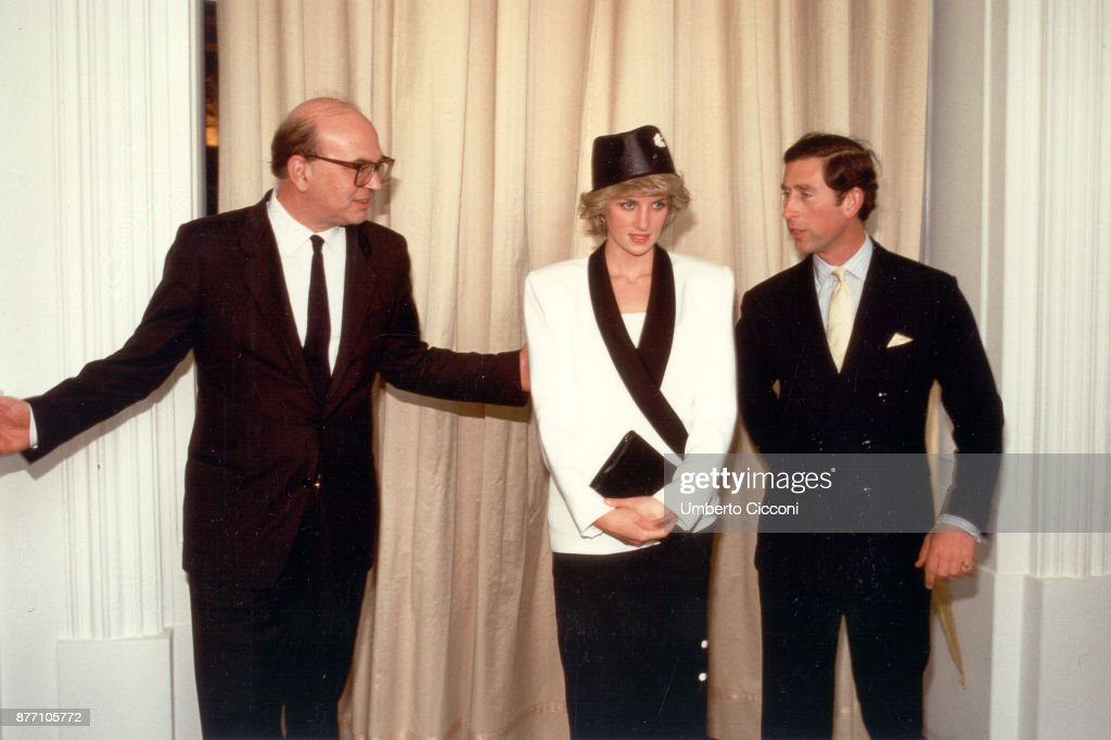 Bettino Craxi, Princess Diana and Prince Charles, during a welcome party for the royalty in Villa Doria Pamphili, Rome 1985 : News Photo