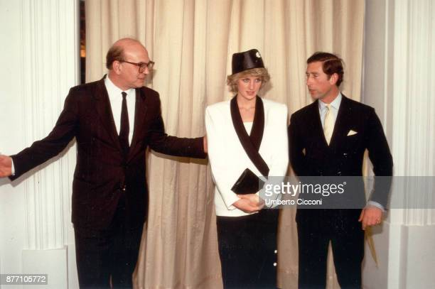 Bettino Craxi Princess Diana and Prince Charles during a welcome party for the royalty in Villa Doria Pamphili Rome 1985