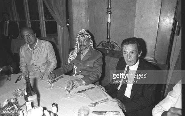 Bettino Craxi, Yasser Arafat and Enrico Berlinguer having dinner at the Excelsior Hotel, Rome 1982.