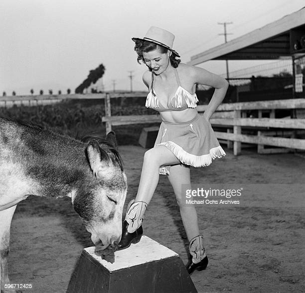 Betty Ames and her donkey Jackson perform in Los AngelesCalifornia