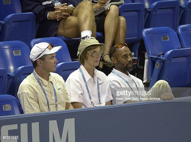 Betty and Thomas Blake parents of tennis player James Blake at the US Open Man sitting to right of Mrs Blake is unidentified