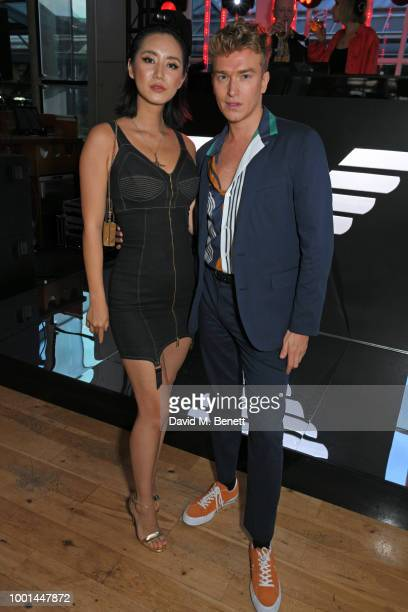 Betty Bachz and Fletcher Cowan attend the Emporio Armani Fragrance 'Stronger With You' party at Roast on July 18 2018 in London England