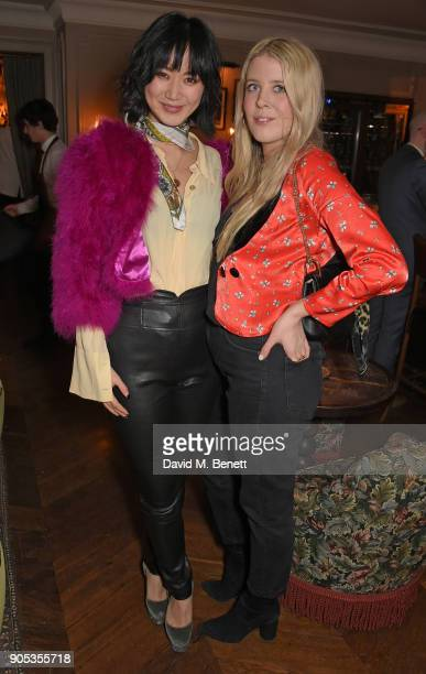 Betty Bachz and Gracie Egan attend Kettner's Townhouse preopening dinner hosted by Fawn and India Rose James on January 15 2018 in London England