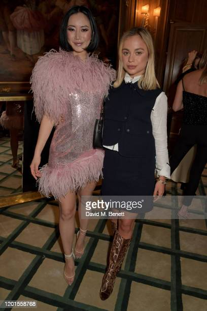 Betty Bachz and Lady Amelia Windsor attend the Fashion Our Future launch event at Claridge's Hotel on February 17 2020 in London England...