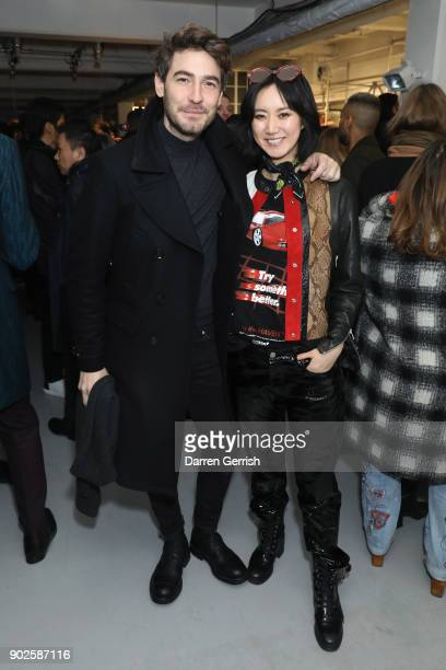 Betty Bachz and Robert Konjic attend the Belstaff AW18 Mens Womens Presentation during London Fashion Week Men's January 2018 on January 8 2018 in...