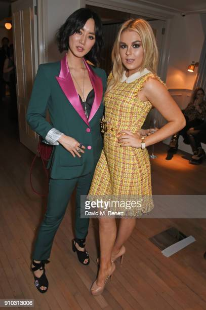 Betty Bachz and Tallia Storm attend the launch of Teresa Tarmey's new 'at home facial system' at Mortimer House sponsored by CIROC on January 25 2018...