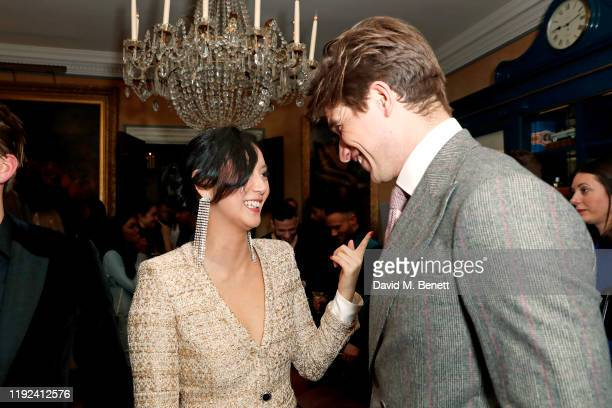 Betty Bachz and Toby HuntingtonWhiteley attend the Tom Ford Beauty Beau Du Jour event at Marks Club on January 7 2020 in London England