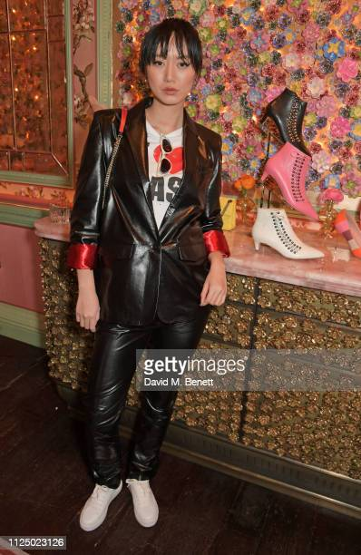 Betty Bachz attends the Kurt Geiger and Susie Bubble celebration for the new 'Characterful Style' campaign at Annabel's on February 15 2019 in London...