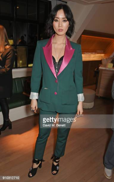 Betty Bachz attends the launch of Teresa Tarmey's new 'at home facial system' at Mortimer House, sponsored by CIROC, on January 25, 2018 in London,...