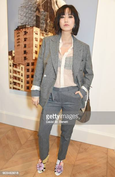 Betty Bachz attends the private view of JR Giants Body of Work at Lazinc on January 10 2018 in London England