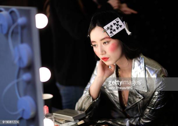Betty Bachz backstage ahead of the Pam Hogg show during London Fashion Week February 2018 at The Freemason's Hall on February 16 2018 in London...