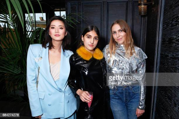 Betty Bachz Lauren Mills and Becky Tong attend as Aqua Nueva launches the Formentera Terrace at Aqua Nueva on May 17 2017 in London England