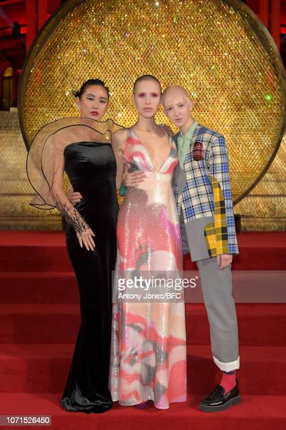 Betty Bachz Maxim Magnus and Finn Buchanan arrive at The Fashion Awards 2018 In Partnership With Swarovski at Royal Albert Hall on December 10 2018...