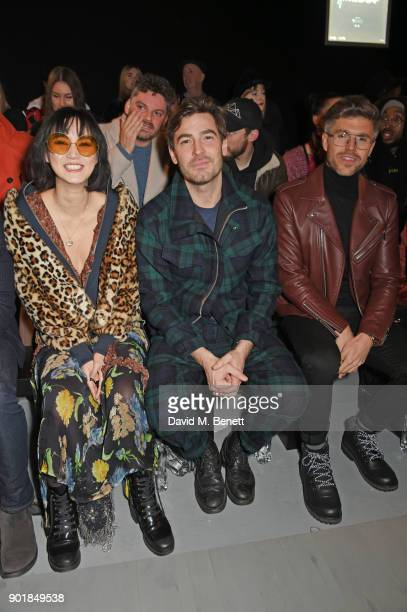 Betty Bachz Robert Konjic and Darren Kennedy attend the Oliver Spencer LFWM AW18 Catwalk Show at the BFC Show Space on January 6 2018 in London...