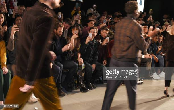 Betty Bachz Robert Konjic and Darren Kennedy sit in the front row at the Oliver Spencer LFWM AW18 Catwalk Show at the BFC Show Space on January 6...