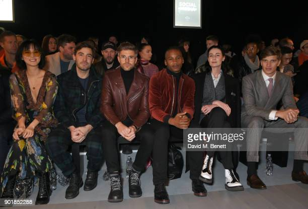 Betty Bachz Robert Konjic Darren Kennedy Eric Underwood Erin OÕConnor and Toby HuntingtonWhiteley sit in the front row at the Oliver Spencer LFWM...