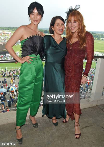 Betty Bachz Sadie Frost and Charlotte Tilbury attend Ladies Day of the 2017 Investec Derby Festival at The Jockey Club's Epsom Downs Racecourse at...