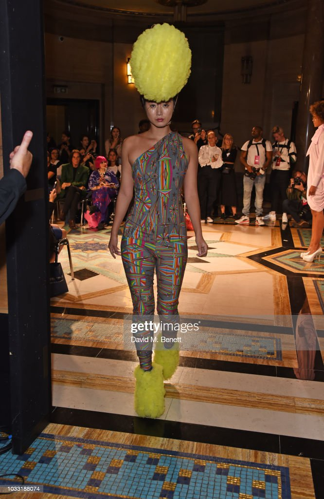 Betty Bachz walks the runway at the Pam Hogg show during London Fashion Week September 2018 at The Freemason's Hall on September 14, 2018 in London, England.