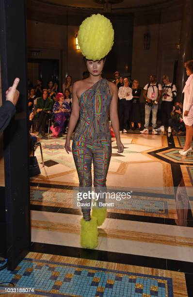 Betty Bachz walks the runway at the Pam Hogg show during London Fashion Week September 2018 at The Freemason's Hall on September 14 2018 in London...