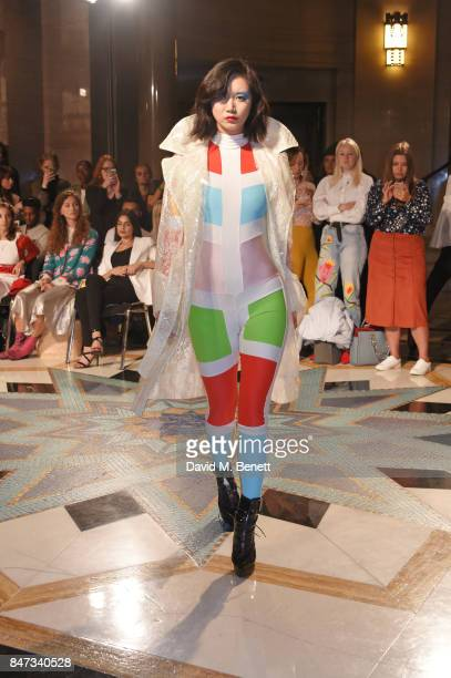 Betty Bachz walks the runway at the Pam Hogg SS18 catwalk show at Freemasons Hall during London Fashion Week on September 15 2017 in London United...