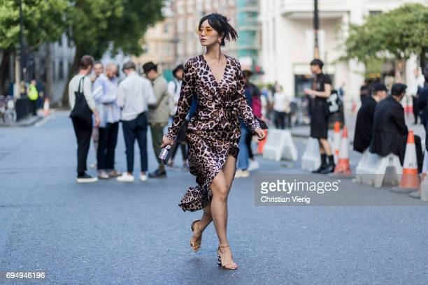Betty Bachz wearing a dress with leopard print during the London Fashion Week Men's June 2017 collections on June 11 2017 in London England