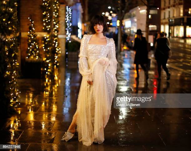 Betty Bachz wearing Alistair James dress and shoes on December 16, 2017 in London, England.