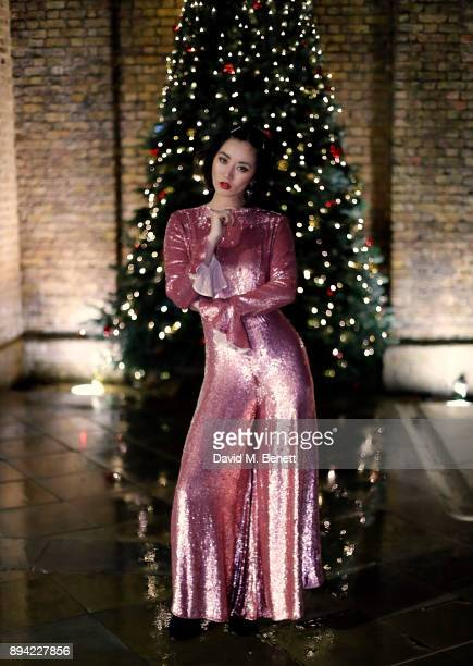 Betty Bachz wearing Temperly dress and Sophia Webster shoes on December 16 2017 in London England