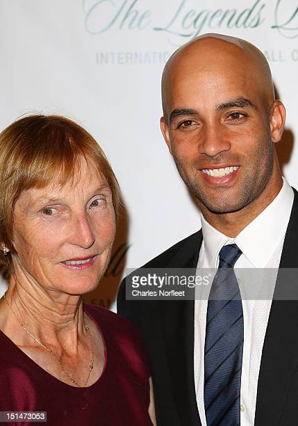 Betty Blake and her son James Blake attend the International Hall Of Fame Legends Ball 2012 at Cipriani 42nd Street on September 7 2012 in New York...
