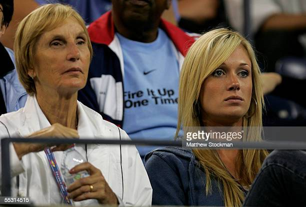 Betty Blake James Blake's mother and Jennifer Scholle Blake's girlfriend watch as Blake's opponent Andre Agassi mounts a comeback during their...