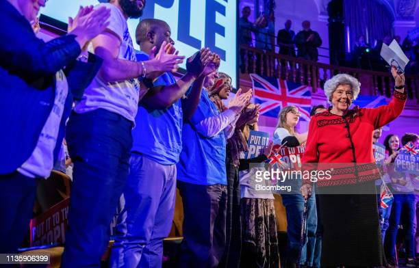 Betty Boothroyd a member of the House of Lords attends a People's Vote rally in the Westminster district of London UK on Tuesday April 9 2019 Justice...