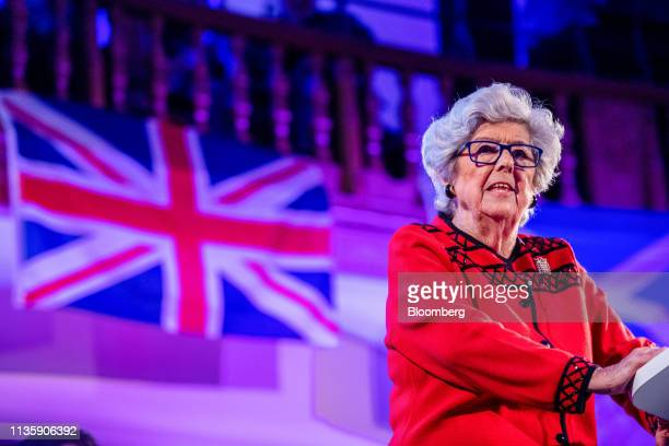 Betty Boothroyd a member of the House of Lords speaks at a People's Vote rally in the Westminster district of London UK on Tuesday April 9 2019...