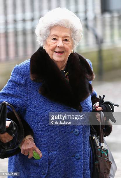 Betty Boothroyd arrives for a National Service of Thanksgiving to celebrate the life of Nelson Mandela at Westminster Abbey on March 3 2014 in London...