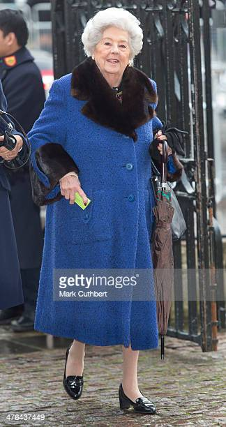 Betty Boothroyd attends National Service of Thanksgiving to celebrate the life of Nelson Mandela at Westminster Abbey on March 3 2014 in London...